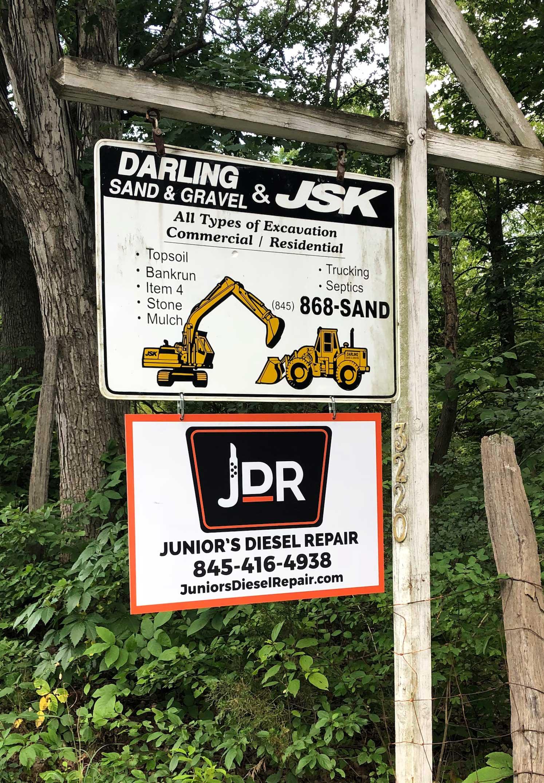 Juniors Diesel Repair Sign